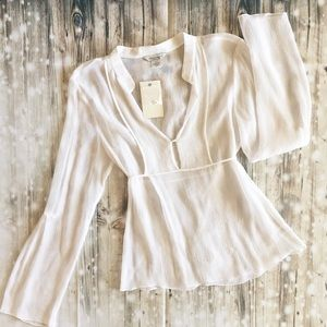 Guess Jeans White Silk Chiffon Top (NWT)   Size M